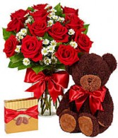 Perfect Love Bouquet Roses, Chocolate, and plush Bear