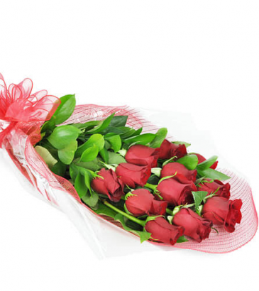 perfect wrapped 12 red Roses