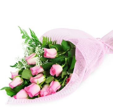 Perfect Wrapped Long-Stemmed Pink Roses Flower Arrangement