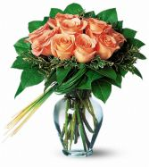 Perfectly Peachy Roses Floral Arrangement
