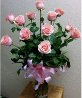 Perfectly Pink Long Stem Roses Pink Rose Arrangement