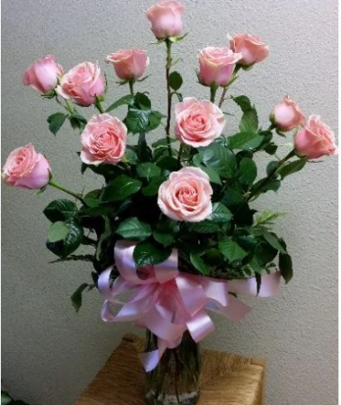 Perfectly Pink Long Stem Roses Vased