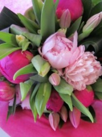 PERFECTLY PINK Peony and Tulip Hand-tied Bouquet