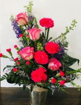 Perfectly Pink Tin container Arrangement In House Special