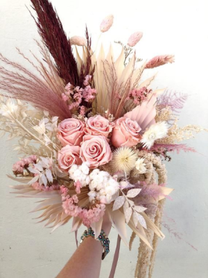 Perfectly Pinks Pampas Bouquet.   Heavenly Florist Original  in Ozone Park, NY | Heavenly Florist