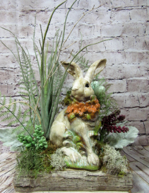 Permanent Easter Bunny Display Silk/Faux Botanicals