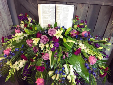 Personalized Casket Spray with Bible Sympathy