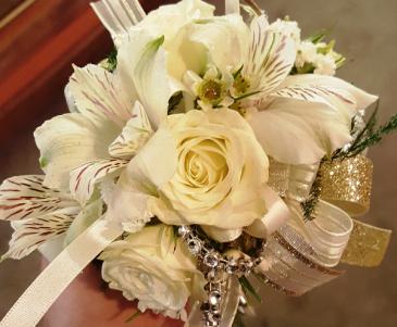 Peruvian lily & Rose Wrist Corsage