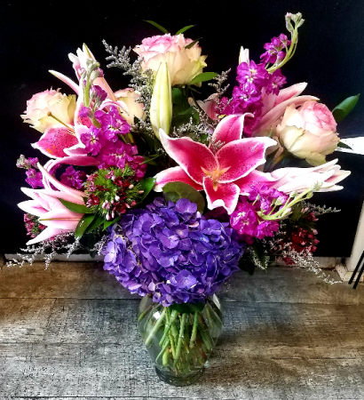 Petals & Vines Pinks Vased in Clear ginger jar vase