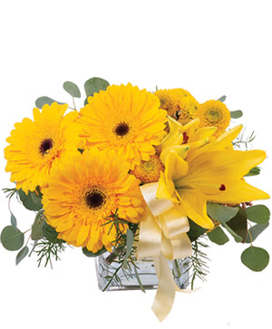 Petite Yellow Flower Arrangement in Orange Cove, CA | The Flower Basket