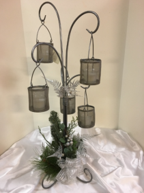 "Pewter silver candle tree 30"" silk and metal candle tree"