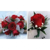 PF RED ROSE SET CORSAGE AND BOUT SET