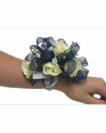 PF WHITE ROSE ROYAL BLUE RIBBON CORSAGE/WRIST