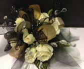 PF WHITE ROSES W/GOLD/BLK RIBBONS CORSAGE/WRIST