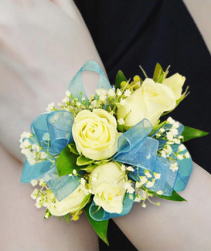 PF WHITE ROSES W/TEAL SHEER RIBBON CORSAGE/WRIST