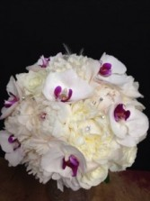 Bridal Bouquet  Phalaenopsis orchards and white peony