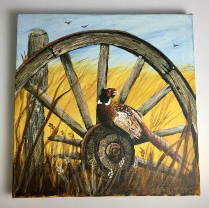 Pheasant on Wagon Wheel  Acrylic Painting on Canvas