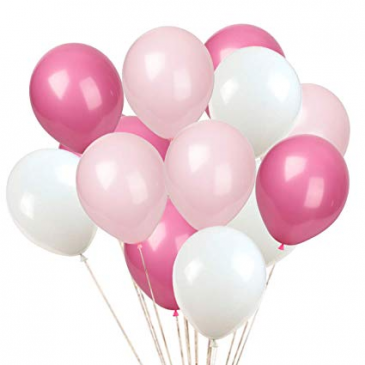 PHI MU BALLOON ADD ON 3 PINK/ WHITE LATEX BALLOONS ADDED TO ARRANGEMENT