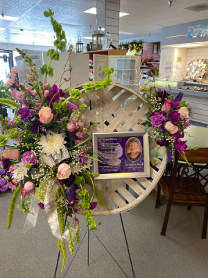Photo Memories STANDING SPRAY in Murphy, NC | Rambling Rose Florist & Gifts