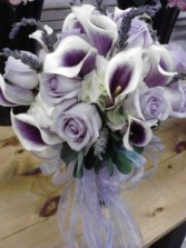 Picasso Calla Lilies And Lavander Roses Bridal Bouquet