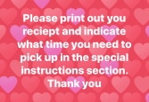 Pick up instructions