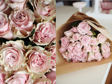 Pink Roses in Kraft Paper Roses, Wrapped