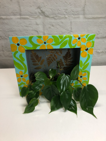Picture Philodendron  in Hand-Painted Frame