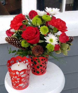 PINE CONES AND HOLLY  VASE ARRANGEMENT in North Adams, MA | MOUNT WILLIAMS GREENHOUSES INC