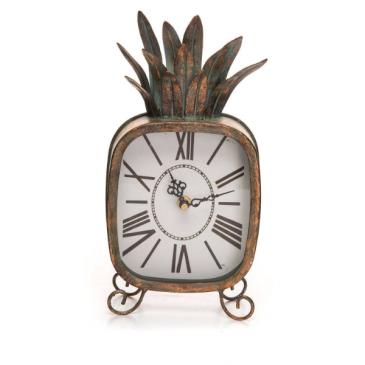 Pineapple Metal Patina Battery Op. Table Clock