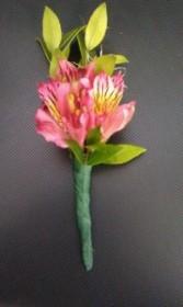 Pink Alstromeria Boutonniere