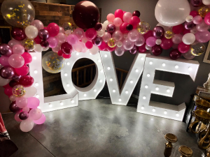PINK AND BURGUNDY BALLOONS  Balloon Garland  in Trumann, AR | Blossom Events & Florist