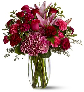 Pink And Burgundy Love Flower Arrangement
