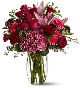 Pink And Burgundy Love Flower Arrangement