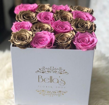 Pink and Gold Eternity Roses Checker Style Roses in a Box