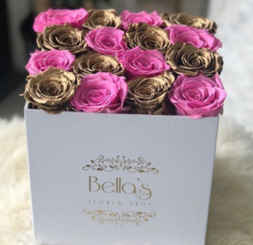PINK AND GOLD ETERNITY ROSES CHECKER STYLE ROSES I