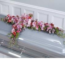 Pink and Lavender Casket Funeral