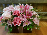Pink and Lavender gift pastel lilies, roses, daisies and carns in a bamboo box