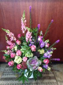 Pink and Purple Garden Sympathy Arrangement