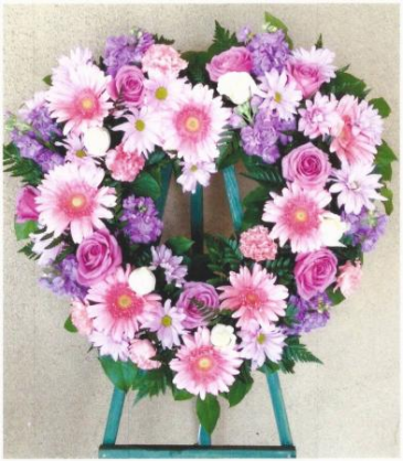 Pink and Purple Heart Wreath