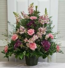 Pink and Purple Majesty Funeral Spray Sympathy Arrangement