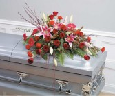 Pink and Red Casket Spray Funeral Flowers Feminine