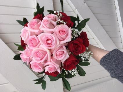 EXCEEDING  EXPECTATIONS ROSE BOUQUET 24 beautiful hand tied Roses