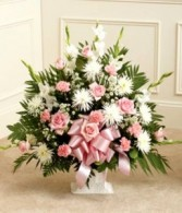 Pink and White Basket Funeral Flowers