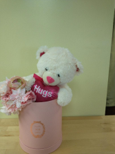 pink and white bear in box with silk handheld bouquet