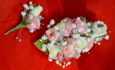 Pink and White Corsage and Boutonniere-2G & 2H
