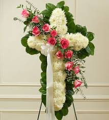 PINK AND WHITE CROSS FUNERAL CROSS WAS $199.00/NOW 165.00