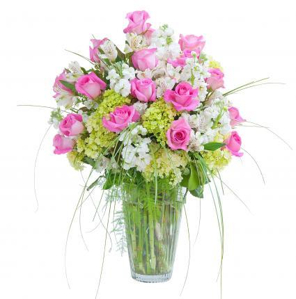 Pink and White  Elegance Vase