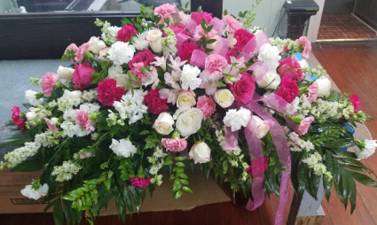 Pink and White Farewell  Casket Spray