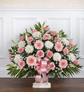 PINK AND WHITE FUNERAL FLOOR BASKET