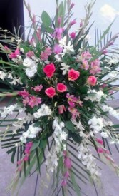 Pink and white funeral spray Fresh floral